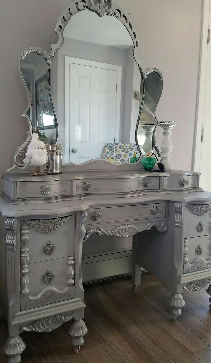 Light gray closet with mirrored make up vanity cabinets transitional - This Amazing 1932 S Vintage Vanity Mirror Were Requested To Coordinate With The Jacobian Buffet I