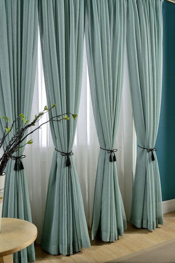 Delicate Light Teal Linen Blend Sheer Curtain