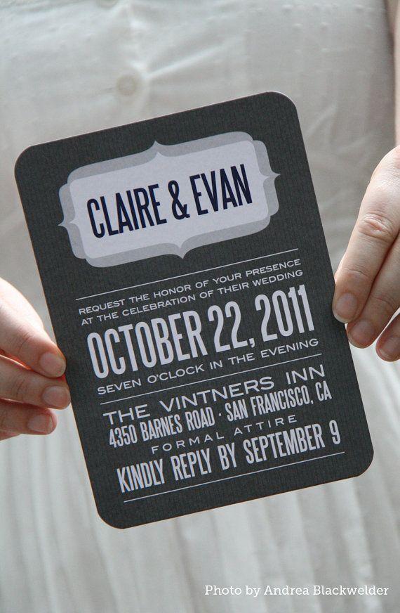 Modern pinstripe wedding invitation in grey and white