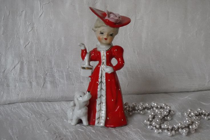 Porcelain Figurine / Vintage Lady with Red Dress & Poodle / Shafford China / 1950's / Made in Japan / by OriginalVintageGypsy on Etsy