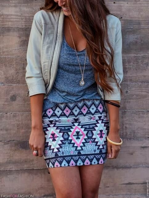 powder blue spring outfit with aztec print skirt & leather jacket