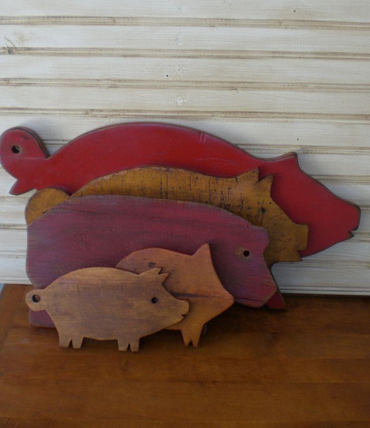 Primitive Pig Cutting Board~ Vintage