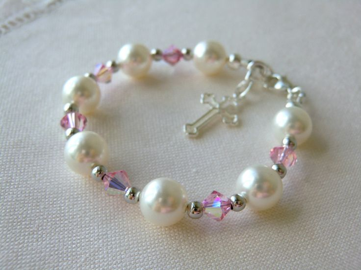 Pink Baby Bracelet for Christening, Baptism, or Communion Flower Girls Bracelet Baby Shower Gift Pearl Bracelet Swarovski Crystal Bracelet. $38.00, via Etsy.