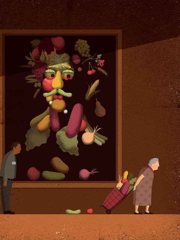 "Davide Bonazzi - Illustration for ""Food Show"", exhibition by Illustri @ El Coq Caffè Garibaldi, Vicenza, Italy"