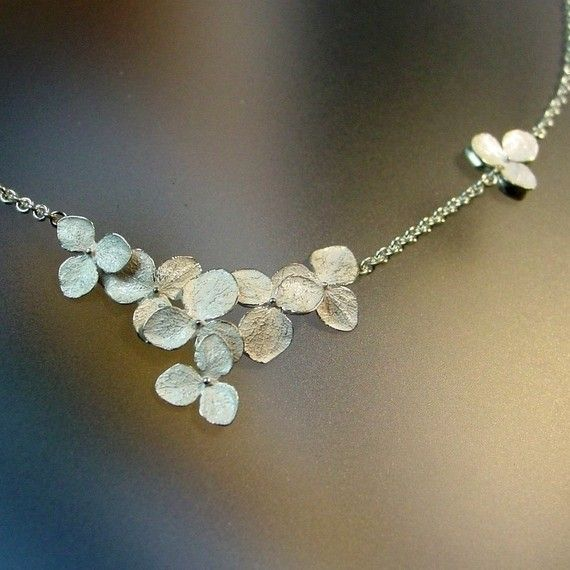Sterling Hydrangea Necklace Hydrangea Cluster Flowers , Made to order