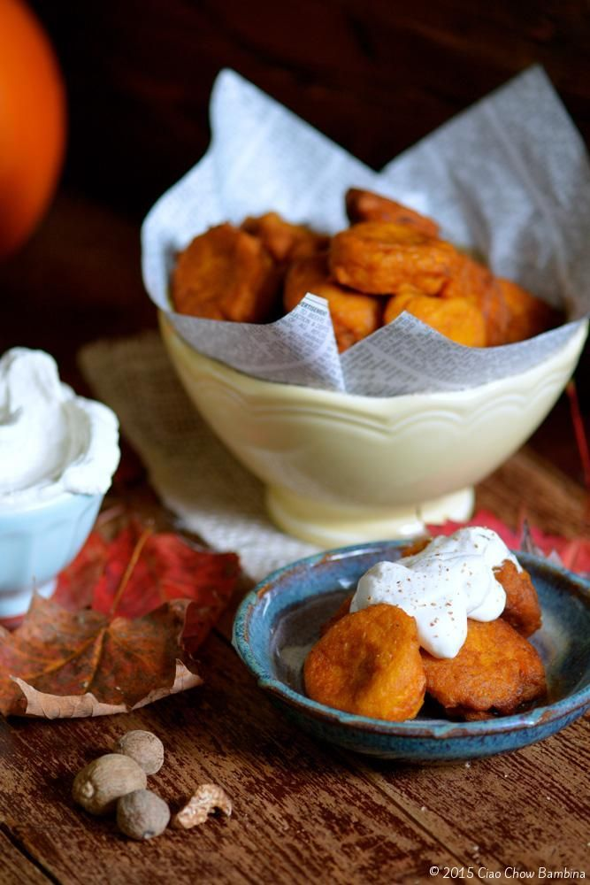 Pumpkin & Nutmeg Fritters with Vanilla Cream http://ciaochowbambina.com