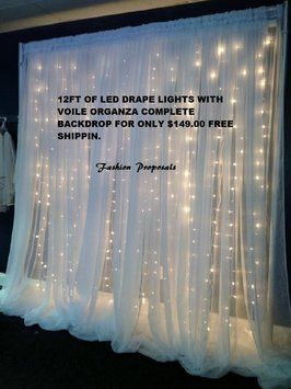 12 Ft Wide Led Backdrop Lights With Voile Organza Drapes Led Backdrops Drapes Complete Set Sale $139.00 $149