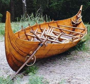 This small Viking boat displays the same clinker building as large Viking ships