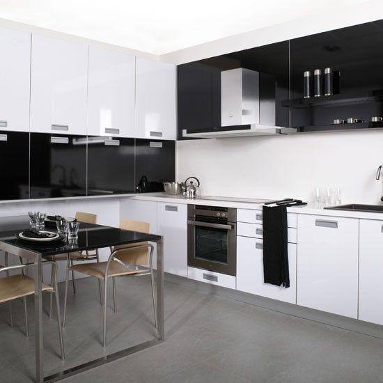 Monochrome L Shaped Kitchen + Streamlined + Modern Dinette #black #white # Part 60