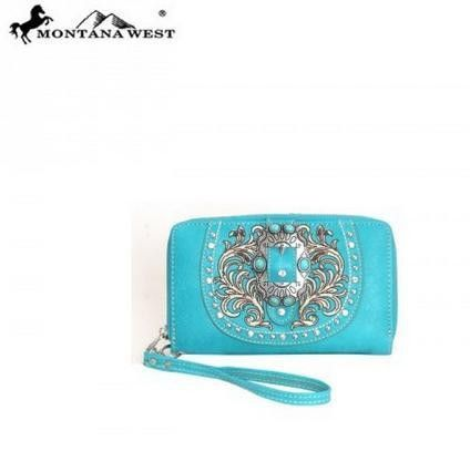 WESTERN BUCKLE WALLET - TURQUOISE