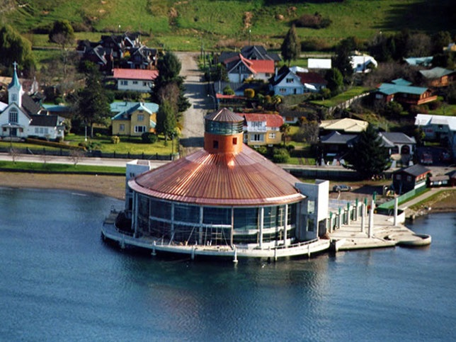The Teatro del Lago in Frutillar, Chile.  Considered to be the largest theatre in the country with the best accoustics in the whole of South America.  It hosts a musical festival each Summer which brings thousands of visitors to Frutillar.  The Semanas Musicales runs from the end of January into the first week of February for two weeks.