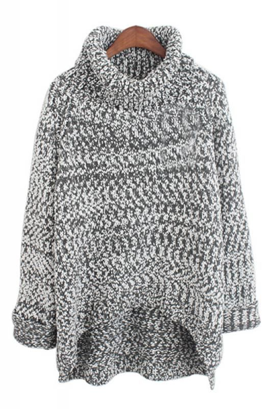 High Low Hem Turtleneck Pullover