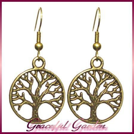 ER2498 Vintage Retro Style Bronze Tone Round Filigree Tree Dangle Hook Earrings