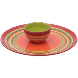 """Two-piece ceramic chip & dip set hand-painted with a Southwestern stripe motif.   Product: Chip and dip setConstruction Material: CeramicColor: MultiFeatures:  Designed by Nancy GreenHand-painted Dimensions: 6.25"""" H x 18.75"""" Diameter (overall)Cleaning and Care: Dishwasher and microwave safe"""