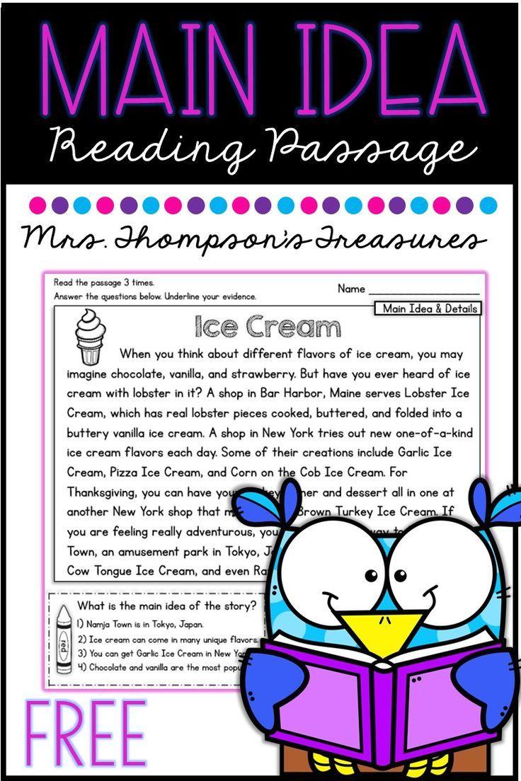 Free Main Idea Reading Comprehension Passage Classroom Freebies Reading Comprehension Passages Reading Comprehension Passages Free First Grade Reading [ 1104 x 736 Pixel ]