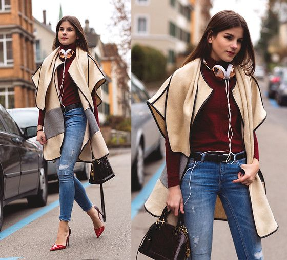 Ipekyol Cape, Hugo Boss Turtleneck Sweater, Ltb Jeans, Louis Vuitton Bag, Valentino Pumps, Frends  Headphone