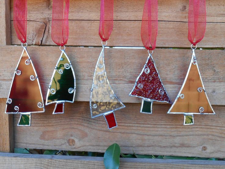 Marvelous Christmas Stained Glass Ornaments Part - 9: 5 Stained Glass Christmas Tree Ornaments-Red-Green-Clear