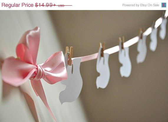 """ON SALE (limited time)     This Confetti Momma """"Christening Dove Garland"""" is so irresistible. Hang it behind the cake table or use it as a photo"""