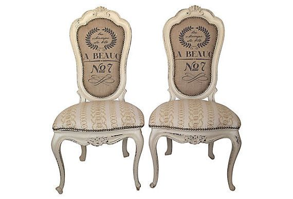 Pair of French Louis Dining Accent Chairs by THRONEupholstery, $1429.00