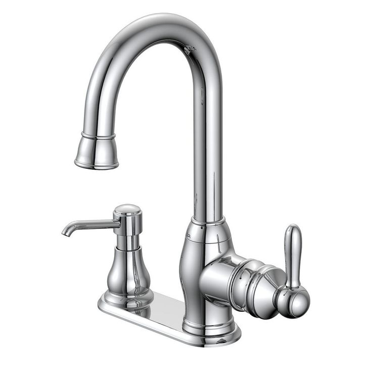 Glacier Bay Newbury Single-Handle Bar Faucet in Chrome (Grey) with Soap Dispenser
