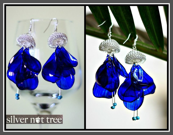 Earrings upcycled from plastic bottles. Just bought a pair from Silver Nut Tree. Gorgeous stuff!