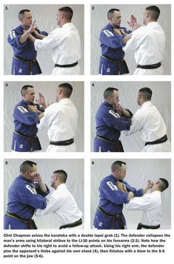 Kyusho-jitsu self-defense moves with two participants, one using human pressure points to stop his attacker.