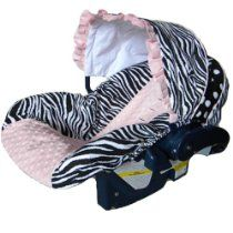 Infant Car Seat Cover, Baby Car Seat Cover, Slip Cover- Zebra, Dots and Light Pink Minky!