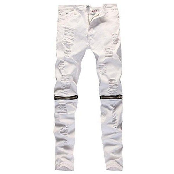 Leward Men's Ripped Skinny Distressed Destroyed Straight Fit Zipper... ($21) ❤ liked on Polyvore featuring men's fashion, men's clothing, men's jeans, mens skinny jeans, mens skinny fit jeans, mens straight jeans, mens destroyed skinny jeans and mens ripped jeans