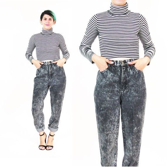 1980s Black Acid Wash Jeans High Waisted Jeans by honeymoonmuse