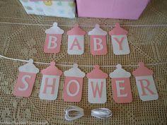 Cartel de baby shower con forma de biberón | Manualidades para Baby Shower