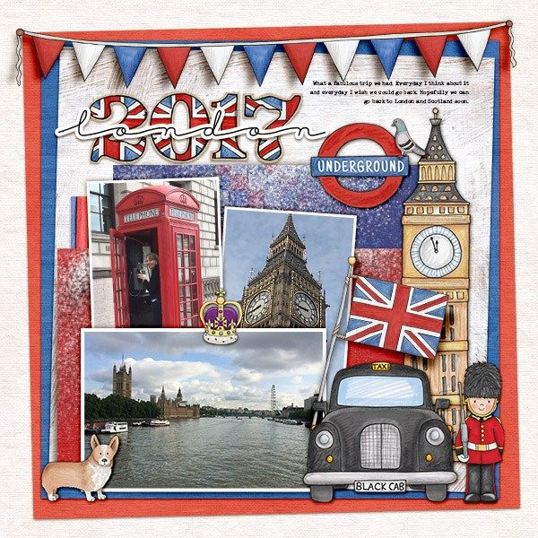 London digital scrapbook page created with this month's free template from Kate Hadfield Designs - click for lots of fun ideas for digital scrapbook pages and to download this free template!