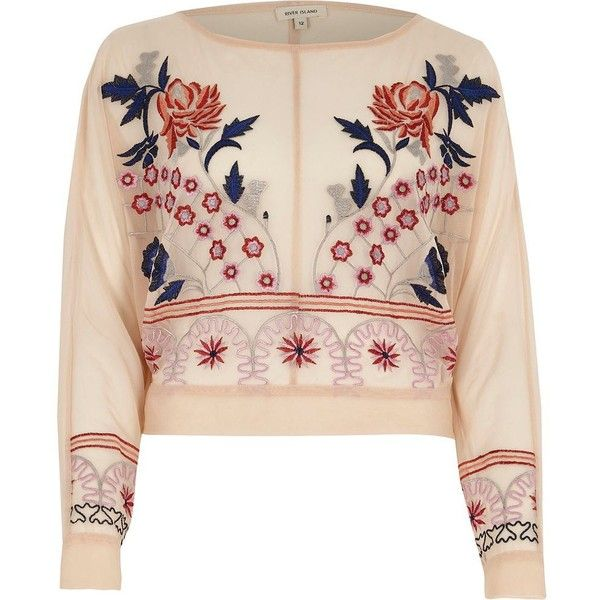 River Island Light pink floral embroidered batwing top ($64) ❤ liked on Polyvore featuring tops, t-shirts, pink, print t-shirts / tanks, t-shirts & vests, women, pink tee, print crop tops, tall t shirts and crop tee