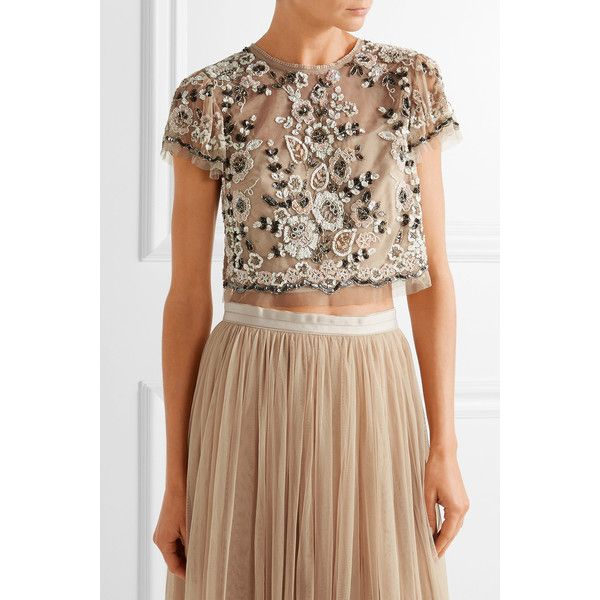 Needle & Thread Petal embellished tulle top ($135) ❤ liked on Polyvore featuring tops, floral cami top, brown cami top, camisole tops, brown top and floral print tops
