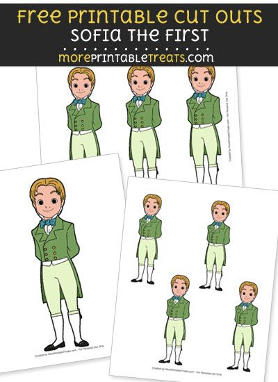 Free Cartoon James from Sofia the First Cut Outs - Printable FREE