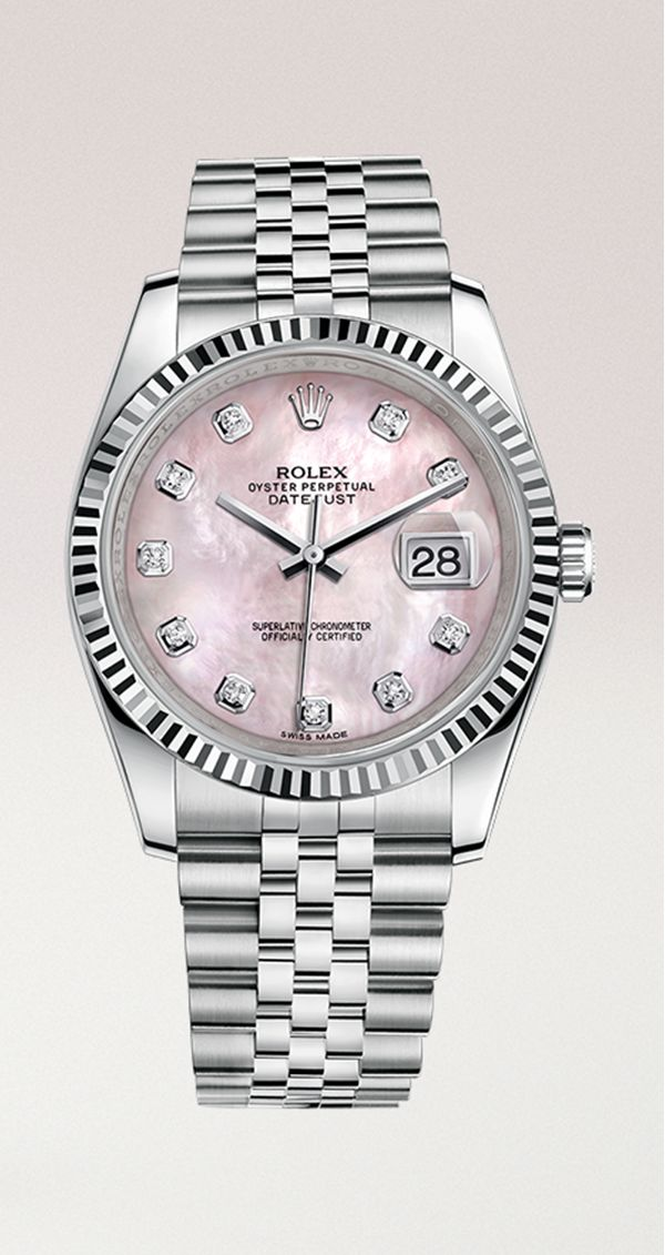 The pink mother of pearl dial with diamond hour markers enhances the allure of this Rolex Datejust 36, a classic watch transcending fashions and eras.