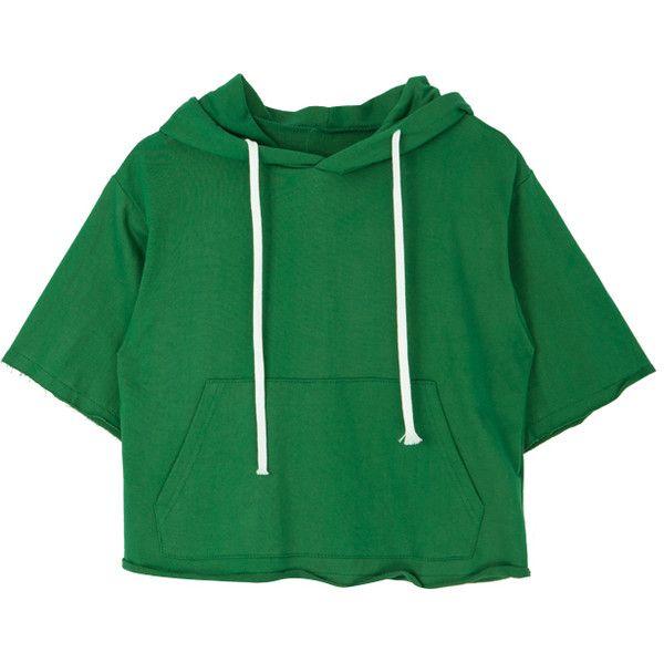 Rolled Edge Hoodie ($14) ❤ liked on Polyvore featuring tops, hoodies, green hoodies, vintage hooded sweatshirt, short hoodie, green hooded sweatshirt and vintage tops