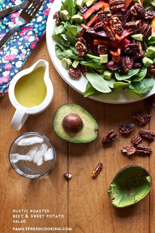 Rustic Roasted Beet and Sweet Potato Salad  http://www.familyfreshcooking.com/wp-content/uploads/2013/02/Sweet-Potato-Beet-Salad-Marla-Meridith-IMG_81341.jpg