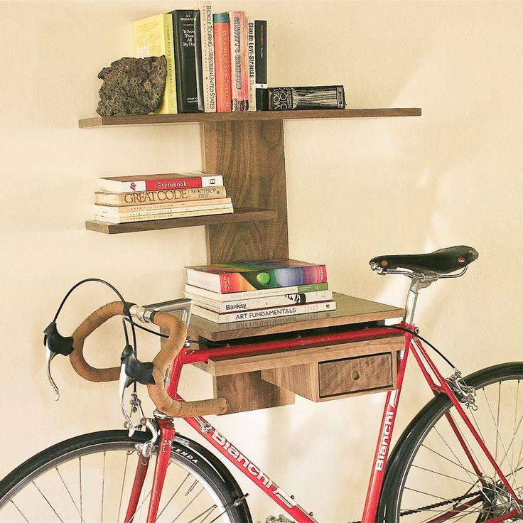 Book and bike shelf by Heirloom and Vine. $285.00. This is wonderful! Handmade, sustainable, good design for urban life.