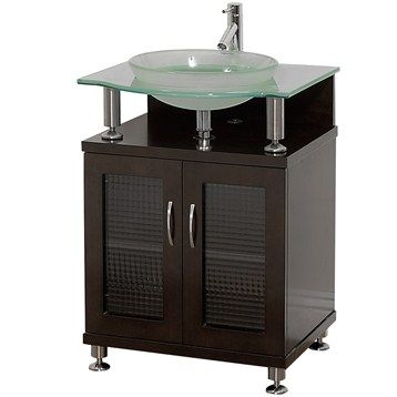 "Replacement option for the existing vanity that I have in the bathroom.  Charlton 24"" Bathroom Vanity with Doors - Espresso w/ Clear or Frosted Glass Counter"