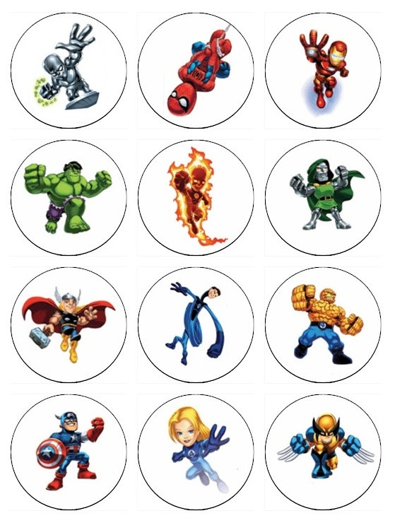 Edible SUPERHERO SQUAD  Cupcake Toppers 12 edible images for Cupcakes, cookies, brownies or any dessert birthday