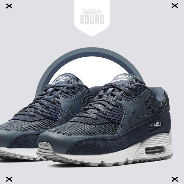 Nike Air Max 90 Premium Leather Heren Dark Grijs Marine Wit