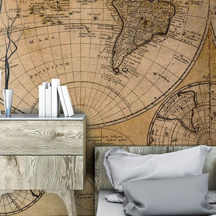 Carta da parati con mappa del mondo antica, vintage