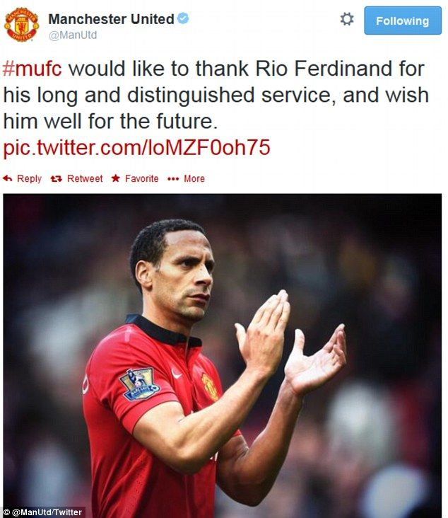 Goodbye: Manchester United wish Ferdinand well on Twitter after confirming the defender will leave the club