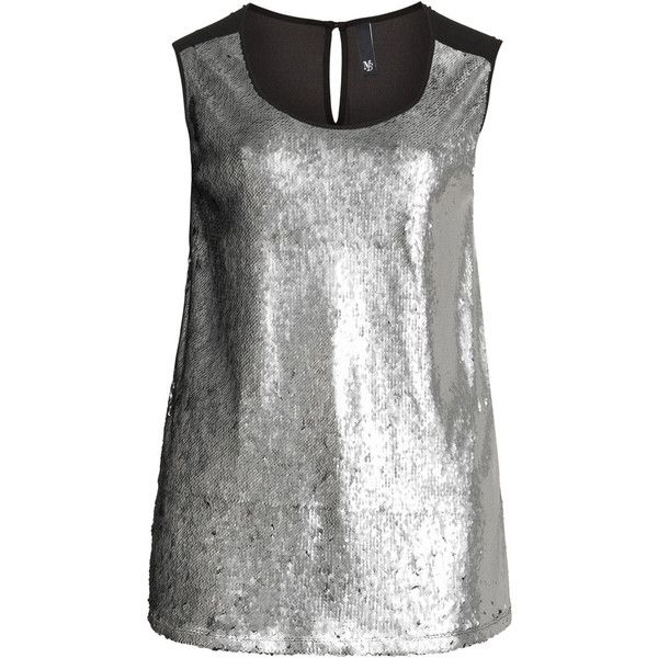 Manon Baptiste Silver / Black Plus Size Sleeveless sequin top ($185) ❤ liked on Polyvore featuring tops, silver, plus size, plus size black tops, black sequin top, night out tops, party tops and loose tops