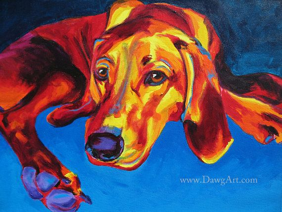 Colorful Pet Portrait Redbone Coonhound Dog Art by dawgpainter, $14.00