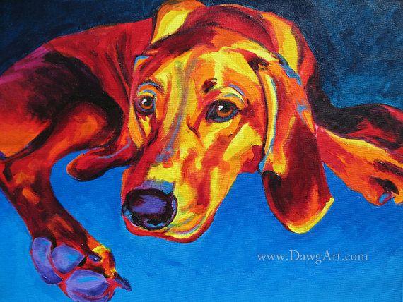 Redbone Coonhound Pet Portrait DawgArt Dog Art Pet von dawgpainter