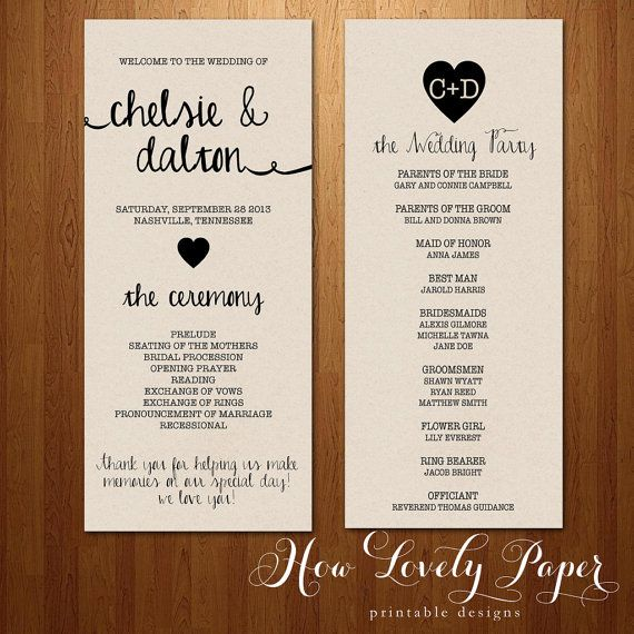 Printable Wedding Program Doublesided Front And By Howlovelypaper 15 00