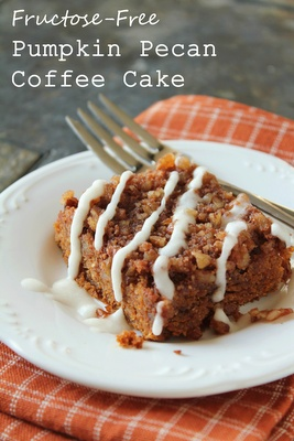 fructose-free pumpkin pecan coffee cake made with almond flour and dextrose