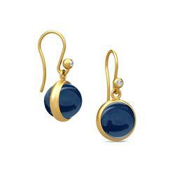 Julie Sandlau øreringe i sølv med 22 karat forgyldning - blå krystaller - hvide zirkoner