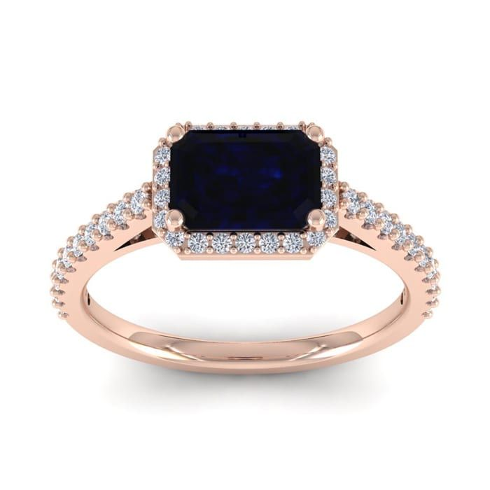 1 1 2 Carat Sapphire And Halo Diamond Ring In 14 Karat Rose Gold Halo Diamond Ring 2 Carat Diamond Ring Diamond